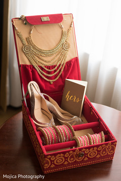 Marvelous Indian bride's wedding ceremony jewelry and shoes.