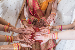 Indian bride and bridesmaid's mehndi art capture.