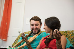 Lovely couple at their pre-wedding mehndi party.