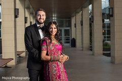 Elegant Indian bride and groom reception fashion.