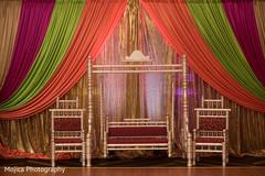 Fascinating Indian pre-wedding mandap colorful decoration.