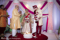 Sweet indian bride and groom during wedding ceremony