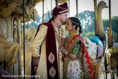 Enchanting indian bride and groom outdoors capture