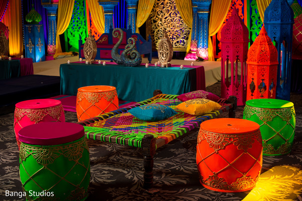 Colorful mehndi party decor