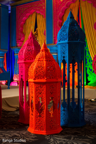Colorful mehndi party candle lanterns decor