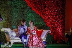 Marvelous Indian sangeet portrait of bride and groom.