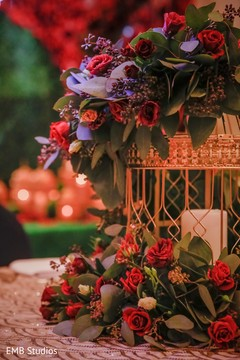 Wonderful Indian sangeet table flower decoration.