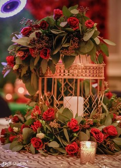 Indian sangeet table cage decoration.