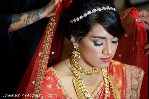 Beautiful Indian bride with her makeup done portrait.