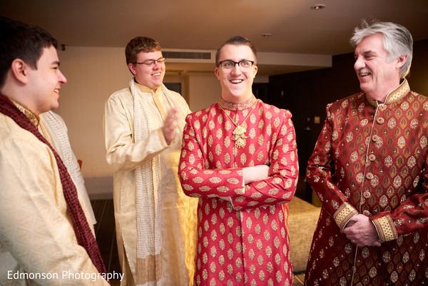 Charming Indian groom ready scene.