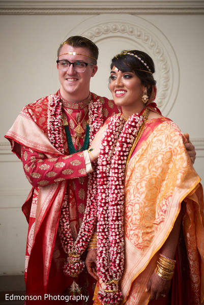 Indian bride and groom at their Jai Mala Ceremony.  (Garland )