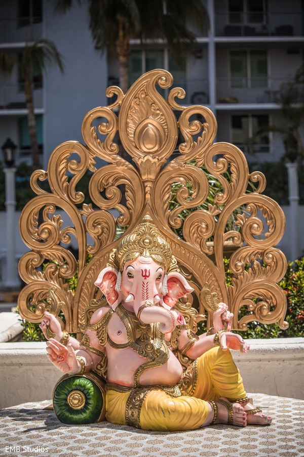 Magestic Indian ceremony Ganesha Puja statue decoration.