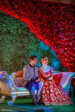 Indian lovebirds on their pre-wedding sangeet celebration.