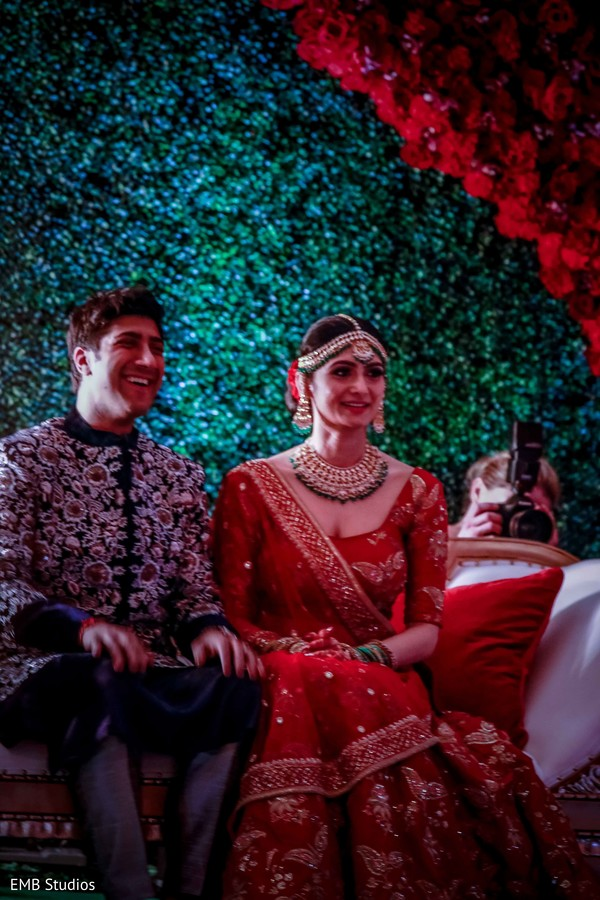 Joyful Indian bride and groom capture.