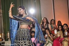 Maharani performing a dance at her sangeet celebration.
