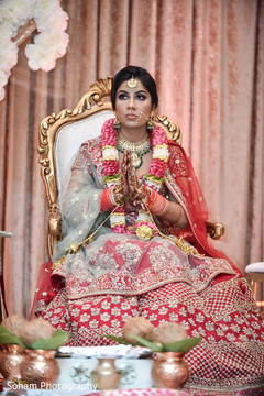 Enchanting Indian bride during ceremony.