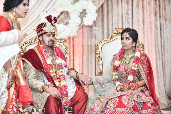 Gorgeous Indian couple at their wedding stage.