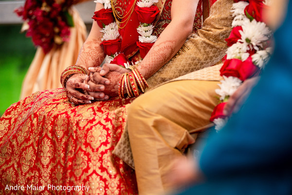 Sweet indian couple hands holding
