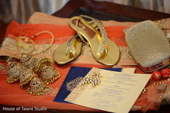 Indian bridal ceremony shoes and accessories capture.