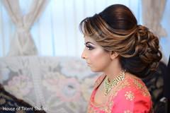 Indian bride's hair design.