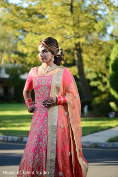 Charming Indian bride about to meet the groom.