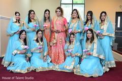 Cute indian bride with bridesmaids.