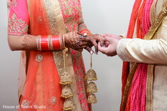 Sweet Indian couple exchanging rings.