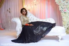 Glamorous Indian bride at her wedding reception.