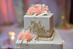 Personalized Indian wedding cake golden decoration.