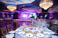 Indian wedding reception table setup decor.