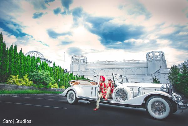 indian bride and groom,indian wedding transportation,indian wedding fashion,car