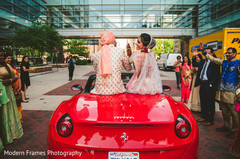 Indian newlyweds saying goodbye to guests
