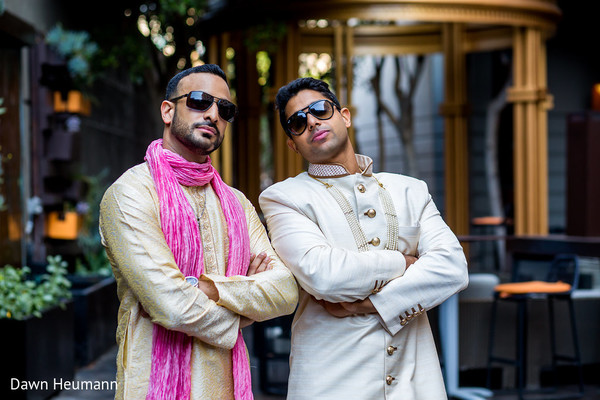 Indian groom with best man portrait.