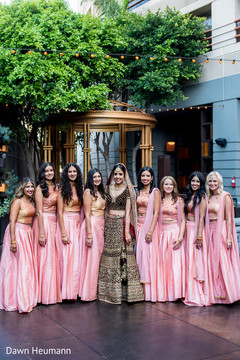 Outdoor themed indian bride with bridesmaids photo session.