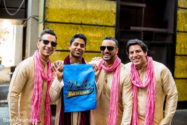 Indian groom with groomsmen capture.