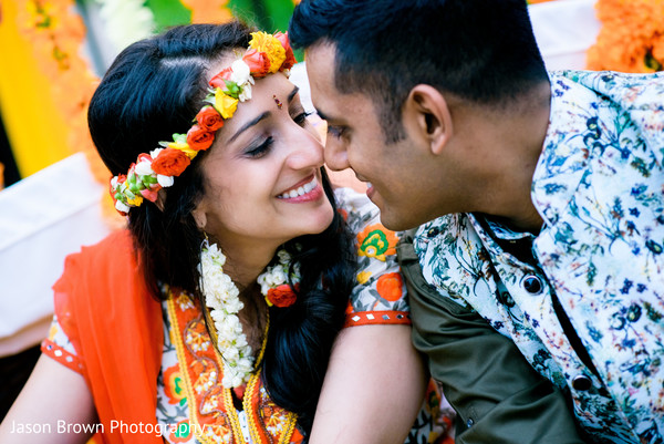 Indian bride and groom tender shot