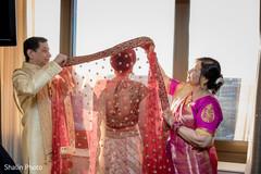 Indian bride putting Ghoonghat capture.