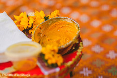 Haldi turmeric paste closeup capture.