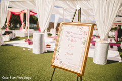 Indian wedding ceremony welcome sign