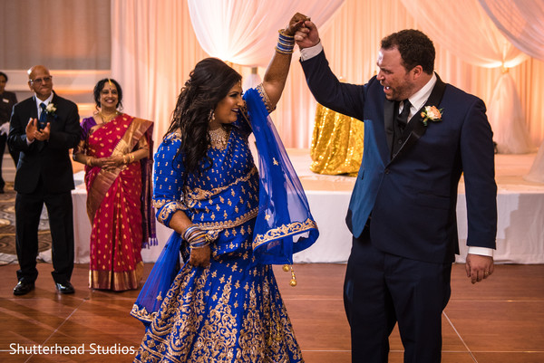 blue and gold lengha,indian groom fashion