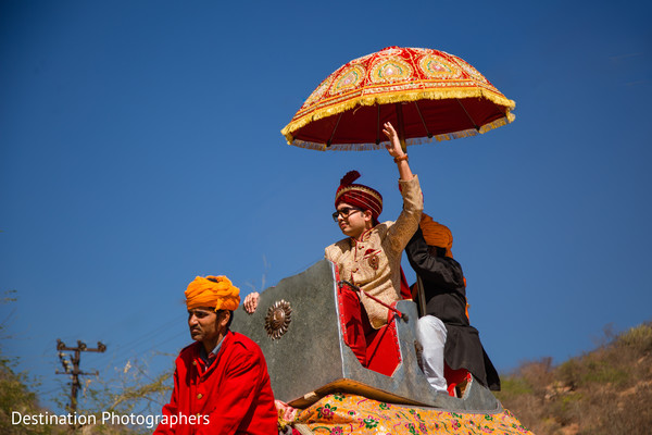 Traditional indian groom's baraat