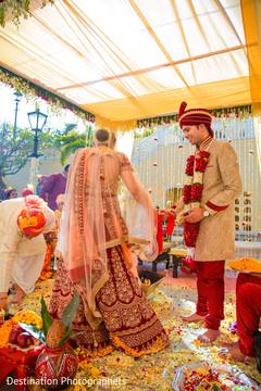 Traditional indian bride and groom's saptapadi ritual