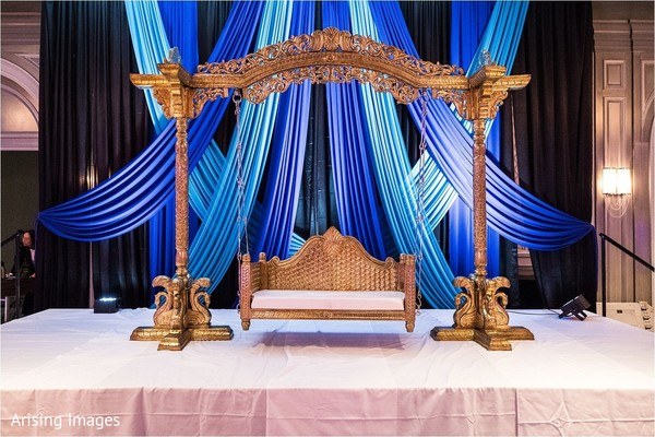 Magnificent Indian sangeet swing seat decor.