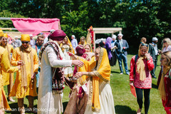 Indian newlyweds exiting their ceremony
