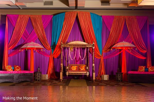 sangeet mandap,indian pre-wedding decor,indian sangeet decor