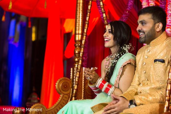 indian bride and groom,indian sangeet fashion,indian pre-wedding celebration
