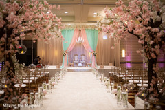 Magnificent Indian wedding ceremony aisle and mandap decoration.