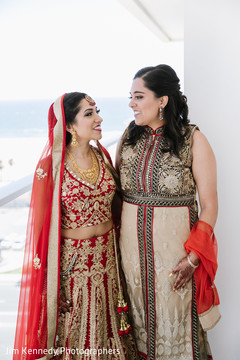 Lovely indian bride in red lengha