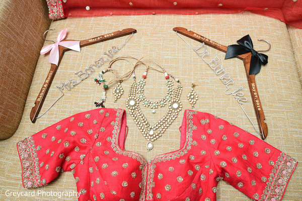 indian bridal open-shirt lengha,maharani jewelry,personalized hangers