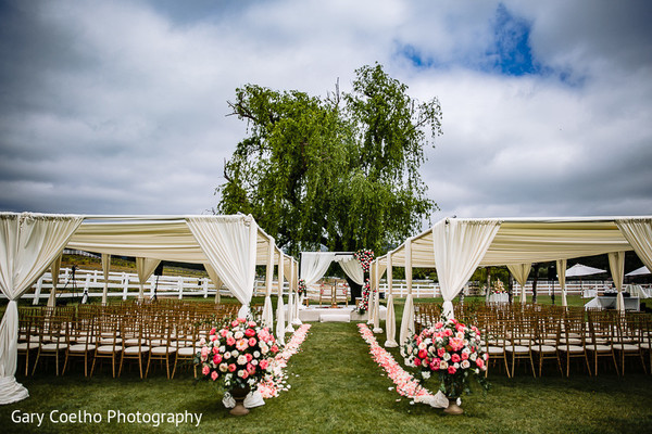 Magnificent Indian wedding ceremony setup and decoration.